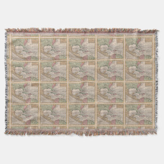 Vintage Map of the Caribbean (1732) Throw