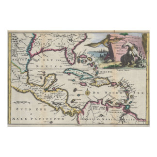 Vintage Map of The Caribbean (1747) Poster