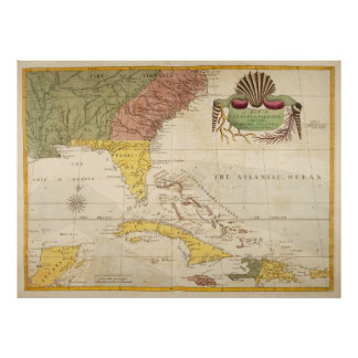 Vintage Map of The Caribbean (1754) Poster