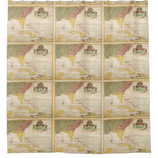 Vintage Map of The Caribbean (1754) Shower Curtain
