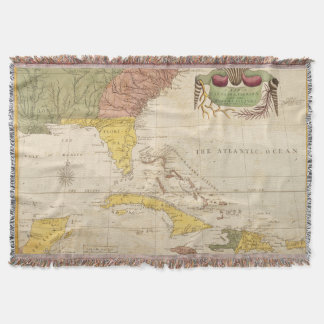 Vintage Map of The Caribbean (1754) Throw Blanket