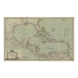 Vintage Map of The Caribbean (1774) Poster