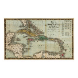 Vintage Map of The Caribbean (1834) Poster