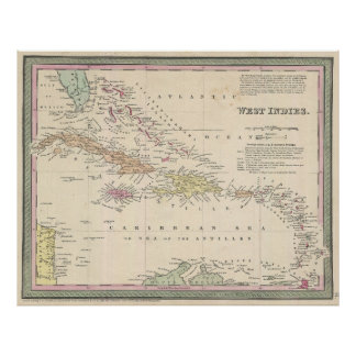 Vintage Map of The Caribbean (1850) Poster