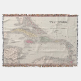 Vintage Map of The Caribbean (1857) Throw Blanket
