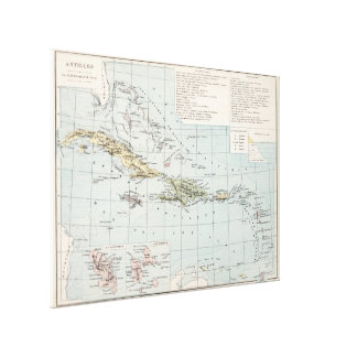 Vintage Map of The Caribbean (1886) Canvas Print