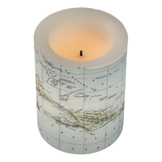 Vintage Map of The Caribbean (1886) Flameless Candle