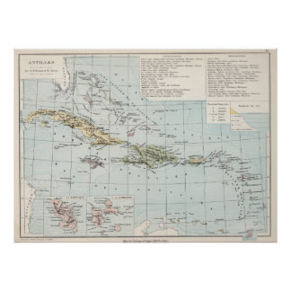Vintage Map of The Caribbean (1886) Poster