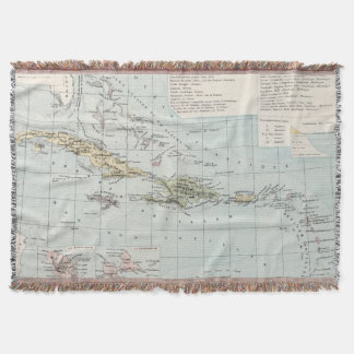 Vintage Map of The Caribbean (1886) Throw Blanket