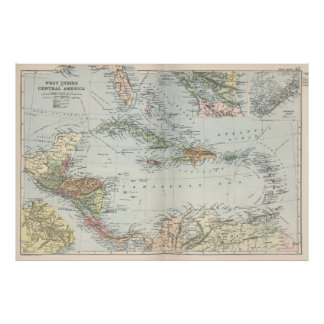 Vintage Map of The Caribbean (1892) Poster