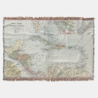 Vintage Map of The Caribbean (1892) Throw Blanket