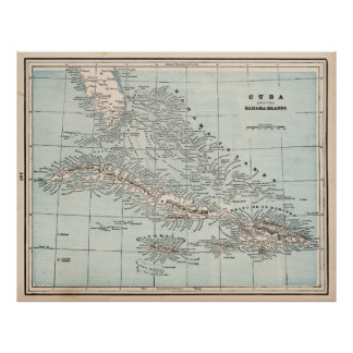 Vintage Map of The Caribbean (1893) Poster