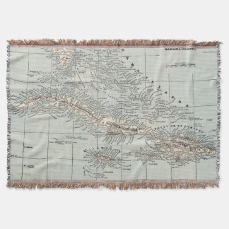 Vintage Map of The Caribbean (1893) Throw