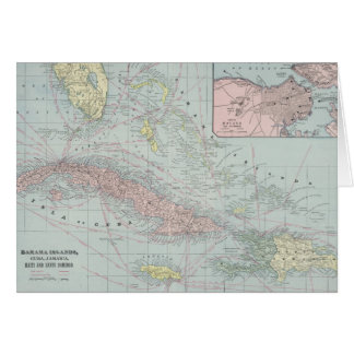 Vintage Map of The Caribbean (1901) Greeting Card