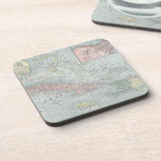 Vintage Map of The Caribbean (1901) Beverage Coasters
