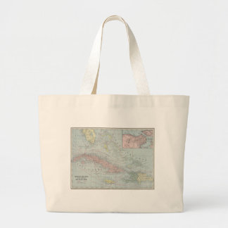 Vintage Map of The Caribbean (1901) Large Tote Bag