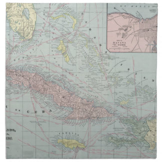 Vintage Map of The Caribbean (1901) Napkin