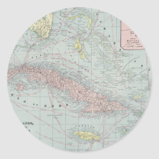 Vintage Map of The Caribbean (1901) Classic Round Sticker