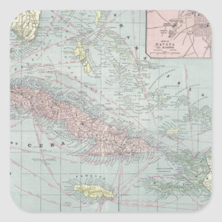 Vintage Map of The Caribbean (1901) Square Sticker