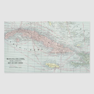 Vintage Map of The Caribbean (1901) Rectangular Sticker