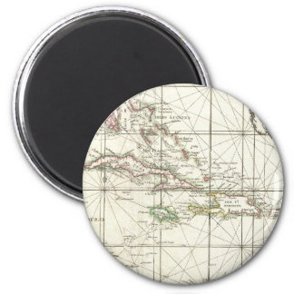 Vintage Map of the Caribbean 2 Inch Round Magnet
