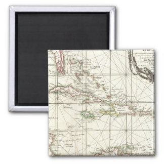 Vintage Map of the Caribbean 2 Inch Square Magnet
