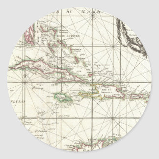 Vintage Map of the Caribbean Classic Round Sticker