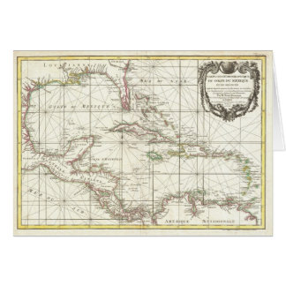 Vintage Map of the Caribbean Greeting Card