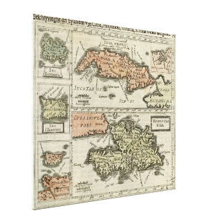 Vintage Map of The Caribbean Island (1630) Canvas Print