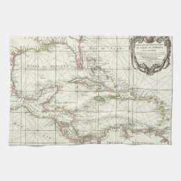 Vintage Map of the Caribbean Kitchen Towel