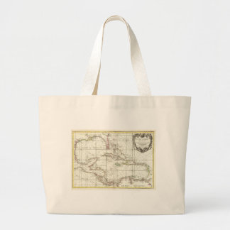 Vintage Map of the Caribbean Large Tote Bag