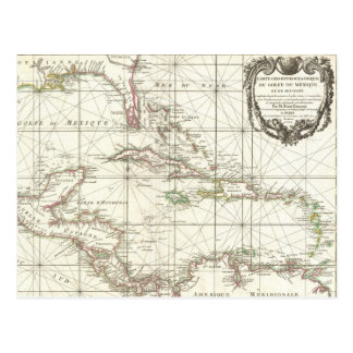 Vintage Map of the Caribbean Postcard
