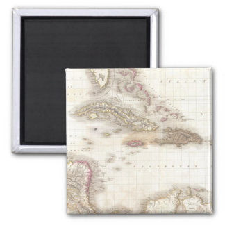 Vintage map of the Caribbean Sea 2 Inch Square Magnet