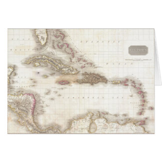 Vintage map of the Caribbean Sea Greeting Card