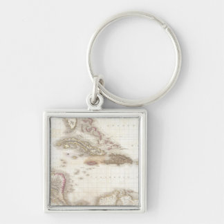 Vintage map of the Caribbean Sea Key Chain
