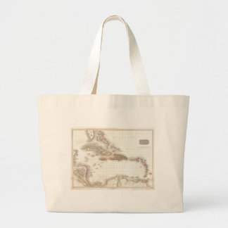 Vintage map of the Caribbean Sea Large Tote Bag