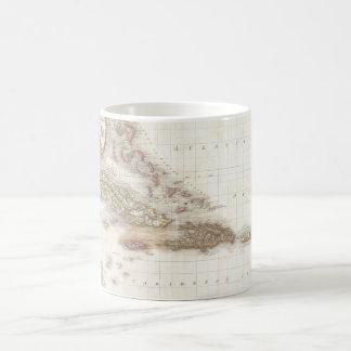 Vintage map of the Caribbean Sea Coffee Mugs