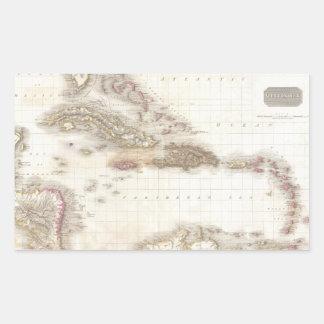 Vintage map of the Caribbean Sea Rectangular Sticker