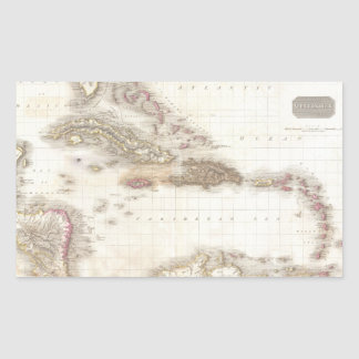 Vintage map of the Caribbean Sea Stickers