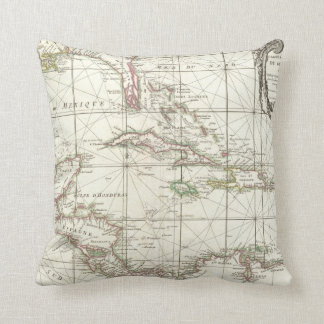 Vintage Map of the Caribbean Throw Pillow