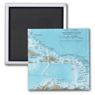 Vintage Map of the Caribbean - U.S. 2 Inch Square Magnet