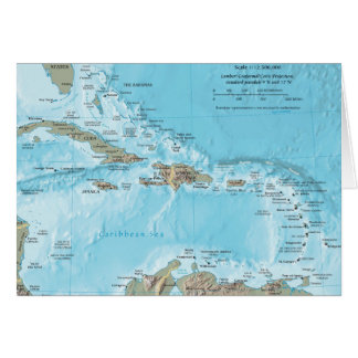 Vintage Map of the Caribbean - U.S. Greeting Card