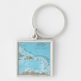 Vintage Map of the Caribbean - U.S. Keychain