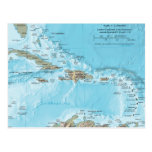 Vintage Map of the Caribbean - U.S. Post Cards
