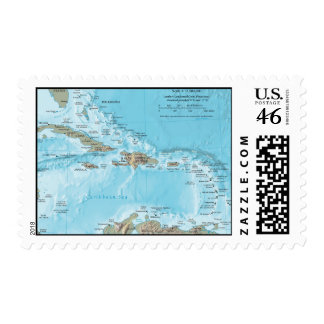 Vintage Map of the Caribbean - U S Stamp
