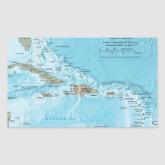 Vintage Map of the Caribbean - U.S. Rectangular Sticker