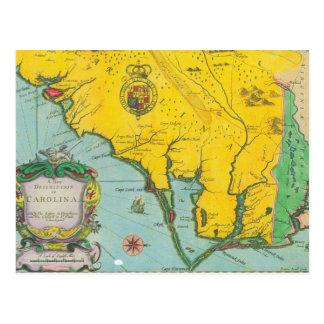 Vintage Map of the Carolina Coast Post Card