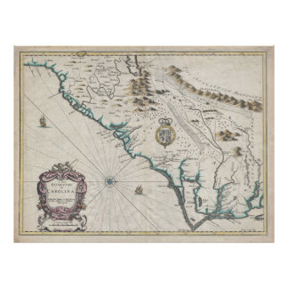 Vintage Map of The Carolinas (1676) Poster