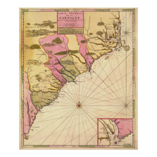 Vintage Map of The Carolinas (1683) Poster
