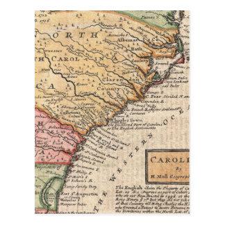 Vintage Map of the Carolinas (1746) Postcard